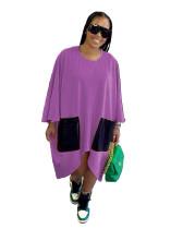 Purple Fashion simple pure color loose dress