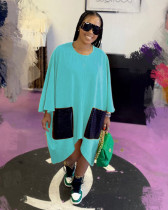 Light bule Fashion simple pure color loose dress