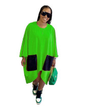 Green Fashion simple pure color loose dress