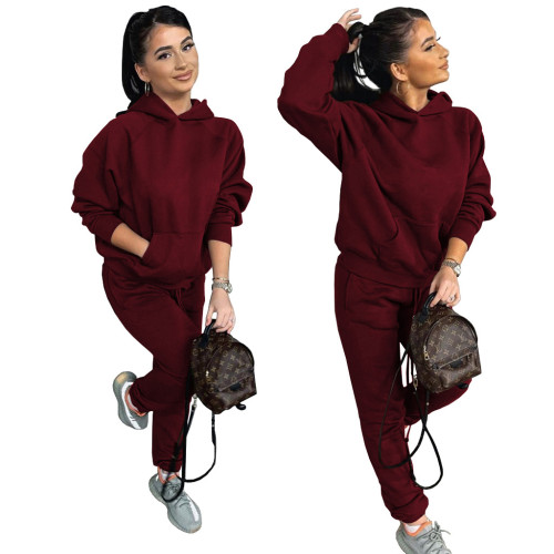 Claret Two-piece casual sports suit with fleece hooded sweater