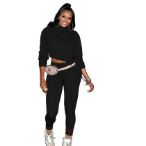 Two-piece casual solid color plastic sports high stretch pants suit