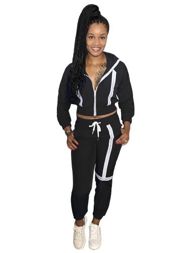 Black Fashion leisure webbing two-piece suit