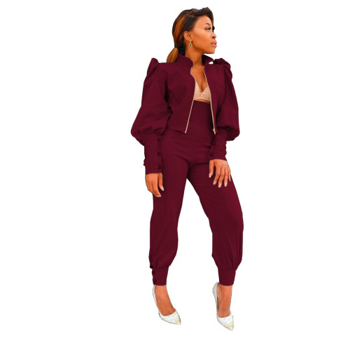 Claret Two-piece suit of solid color puff sleeve zipper high waist pants
