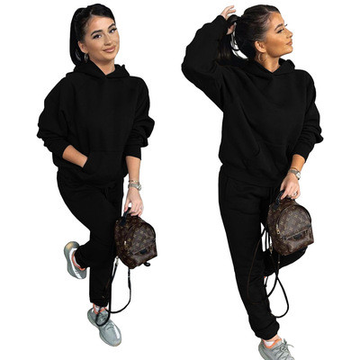 Two-piece casual sports suit with fleece hooded sweater