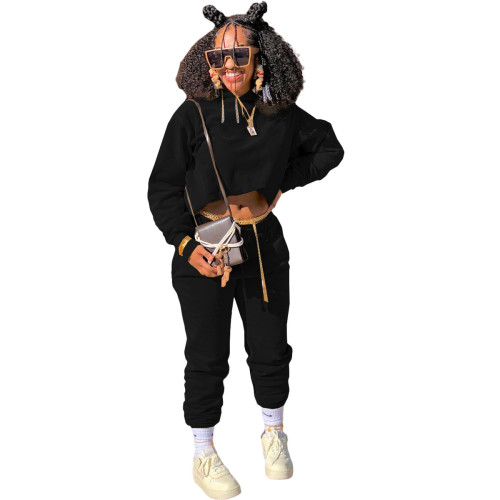 Black Autumn and winter sweater plus velvet loose two piece hooded sports suit
