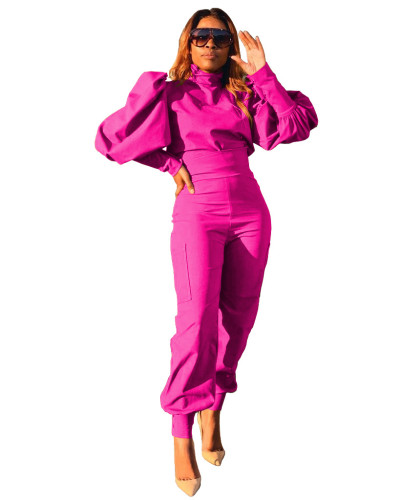 Rose red Fashion personality solid color puff sleeve pullover high waist pants two-piece suit