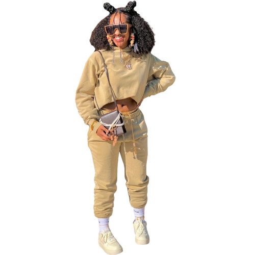 Khaki Autumn and winter sweater plus velvet loose two piece hooded sports suit