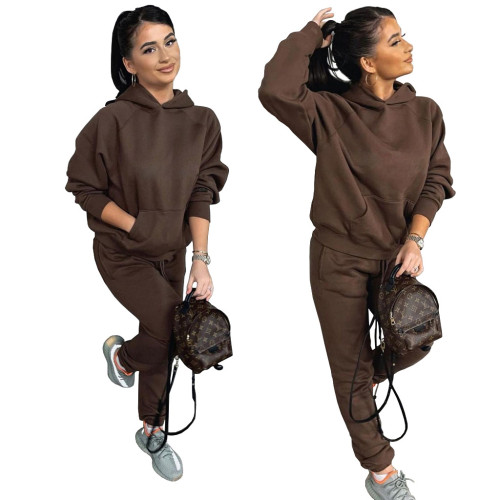 Coffee Two-piece casual sports suit with fleece hooded sweater