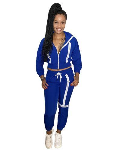Bule Fashion leisure webbing two-piece suit