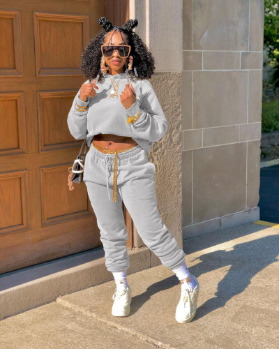 Light gray  Autumn and winter sweater plus velvet loose two piece hooded sports suit