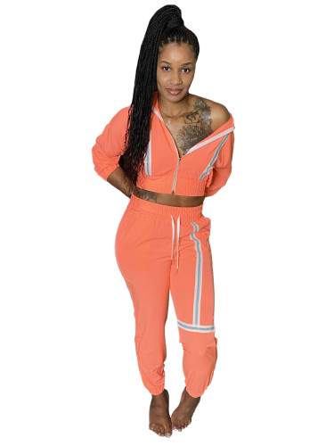 Fashion leisure webbing two-piece suit