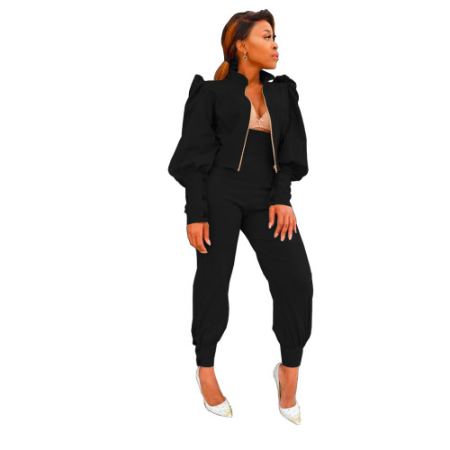 Black Two-piece suit of solid color puff sleeve zipper high waist pants