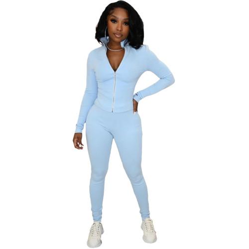Light bule Leisure finger sports suit (two-piece suit)