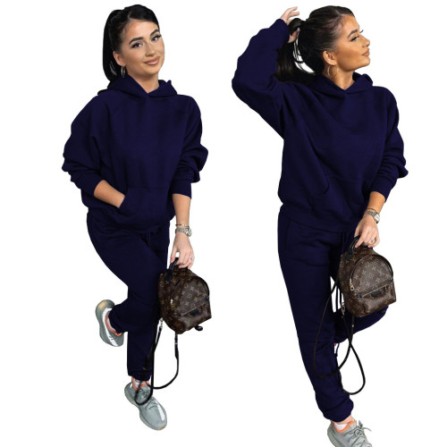 Bule Two-piece casual sports suit with fleece hooded sweater