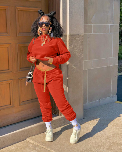 Orange Autumn and winter sweater plus velvet loose two piece hooded sports suit