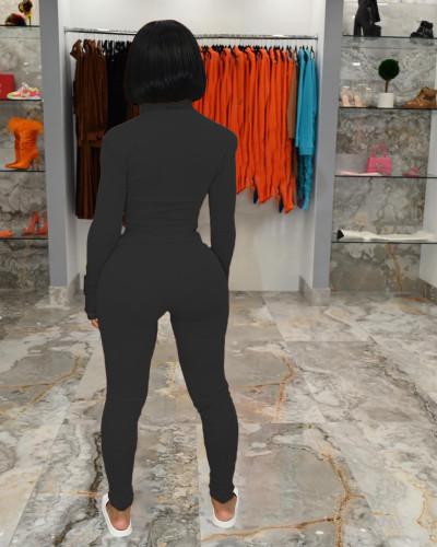 Black Leisure finger sports suit (two-piece suit)