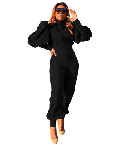Black Fashion personality solid color puff sleeve pullover high waist pants two-piece suit