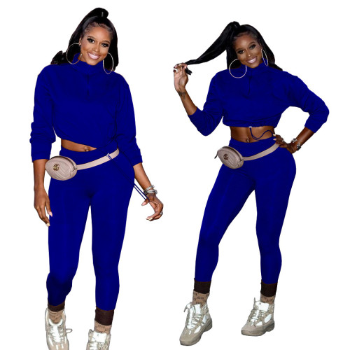 Bule Two-piece casual solid color plastic sports high stretch pants suit