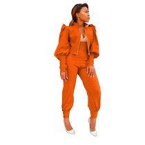 Orange Two-piece suit of solid color puff sleeve zipper high waist pants