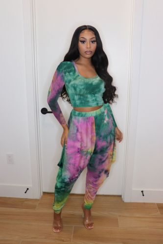 Green Sexy printed two-piece set
