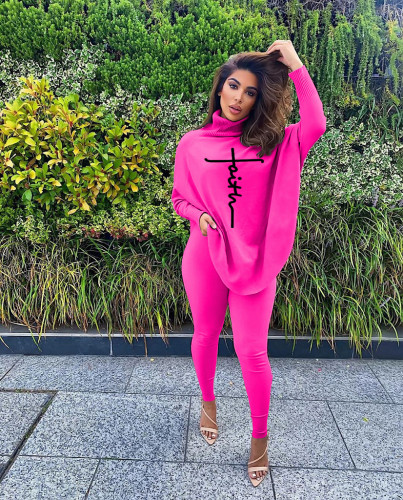Rose red Casual letter printed bat sleeve slit long sleeve threaded pants suit