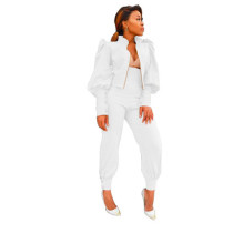 Two-piece suit of solid color puff sleeve zipper high waist pants