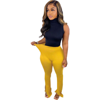 Pure color sexy high waist micro flared leggings casual trousers