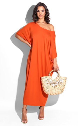 Orange Fashionable Pure Color Loose Round Neck Variety Dress