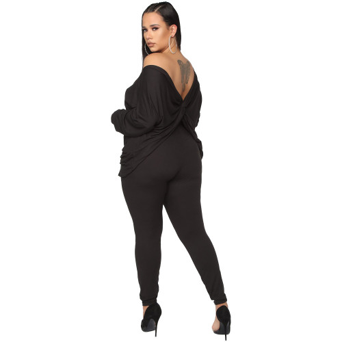 Black Positive and negative off-the-shoulder loose-fitting deep V plus size women's clothing