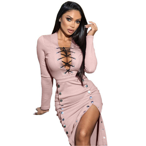 Fashion casual stitching tube top strap double-breasted dress