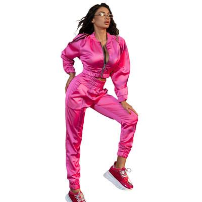 Pure color zipper fashion casual sports two-piece suit