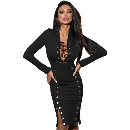 Black Fashion casual stitching tube top strap double-breasted dress