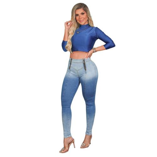 Slim sexy stretch denim trousers