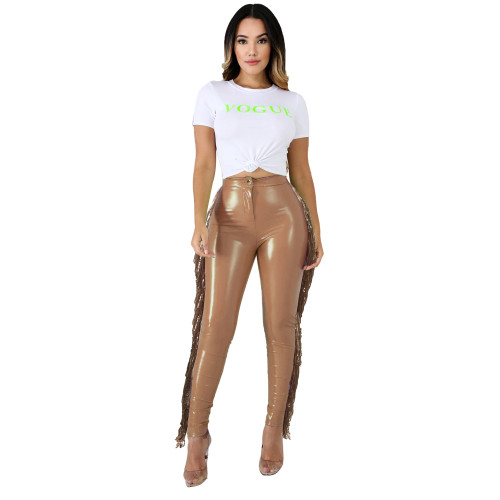 Copy High stretch plus velvet leather pants stitching sequined tassel PU leather pants