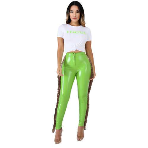 Green High stretch plus velvet leather pants stitching sequined tassel PU leather pants