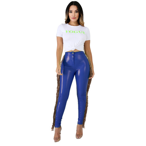 Bule High stretch plus velvet leather pants stitching sequined tassel PU leather pants