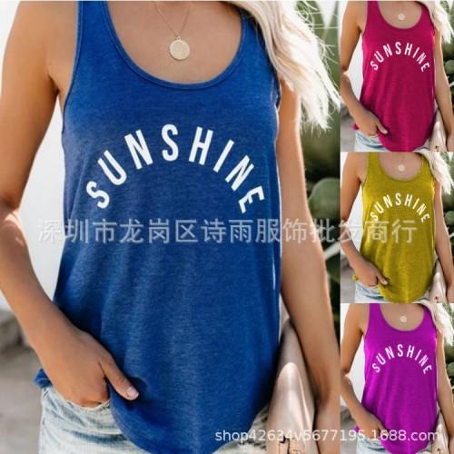 Blue   Round neck fashion letter printed vest T-shirt women's clothing