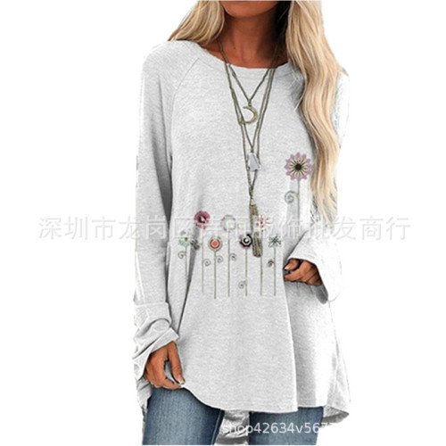 Blue  Women's printed long-sleeved round neck T-shirt