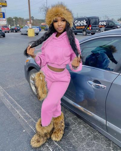 Two-piece fashion solid color plus velvet sweater