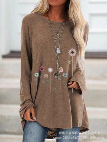 Khaki  Women's printed long-sleeved round neck T-shirt