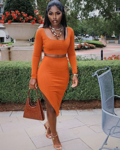 Orange   Sexy tight-fitting split bag hip long-sleeved two-piece suit