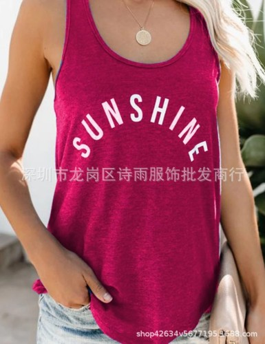 Red  Round neck fashion letter printed vest T-shirt women's clothing