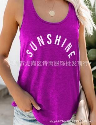 Purple  Round neck fashion letter printed vest T-shirt women's clothing