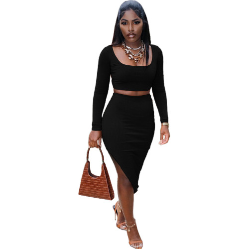 Black   Sexy tight-fitting split bag hip long-sleeved two-piece suit