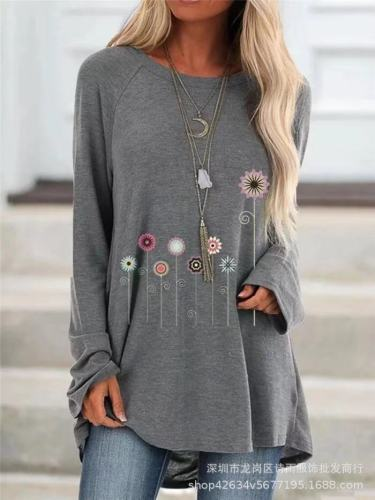 Grey  Women's printed long-sleeved round neck T-shirt
