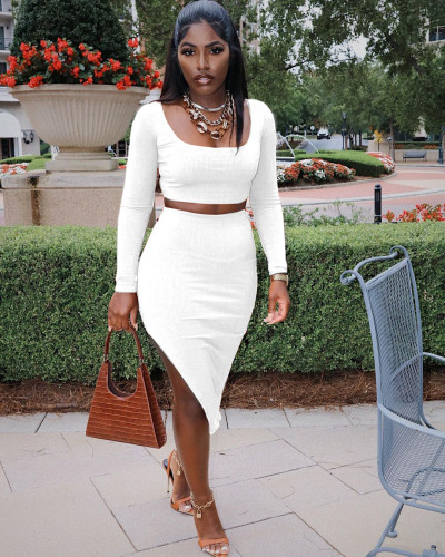 White  Sexy tight-fitting split bag hip long-sleeved two-piece suit