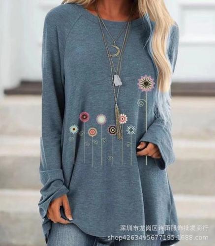 Black Women's printed long-sleeved round neck T-shirt