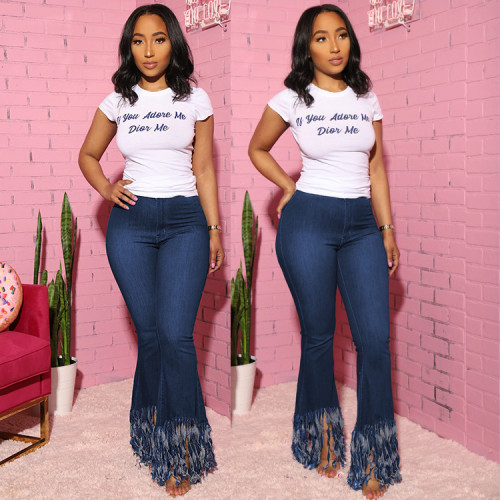 Fringed denim trousers and bootcut trousers