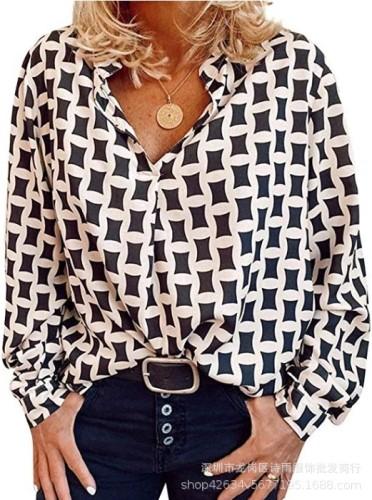 White  Geometric print loose collar pullover shirt women