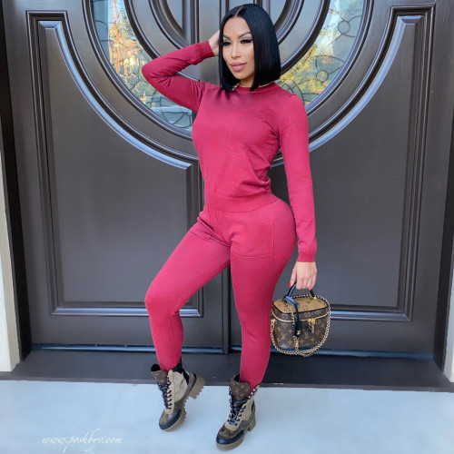 Rose  red  Autumn and winter long-sleeved trousers solid color stretch two-piece suit